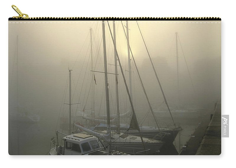 Ambiance Ambient Atmosphere Atmospheric Boat Boats Calvados Day Daylight Daytime During Europe European Exterior Exteriors Filled Fog Foggy France French Full Harbor Harbour Harbour Haze Hazy Honfleur In Mist Mists Misty Mood Mood-filled Moods Nobody Normandy Of Outdoor Photo Photos Port Ports Shot Shots The Carry-all Pouch featuring the photograph Honfleur Harbour In Fog. Calvados. Normandy. France. Europe by Bernard Jaubert