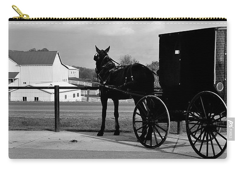 Horse Carry-all Pouch featuring the photograph Horse And Buggy And Farm by Frozen in Time Fine Art Photography