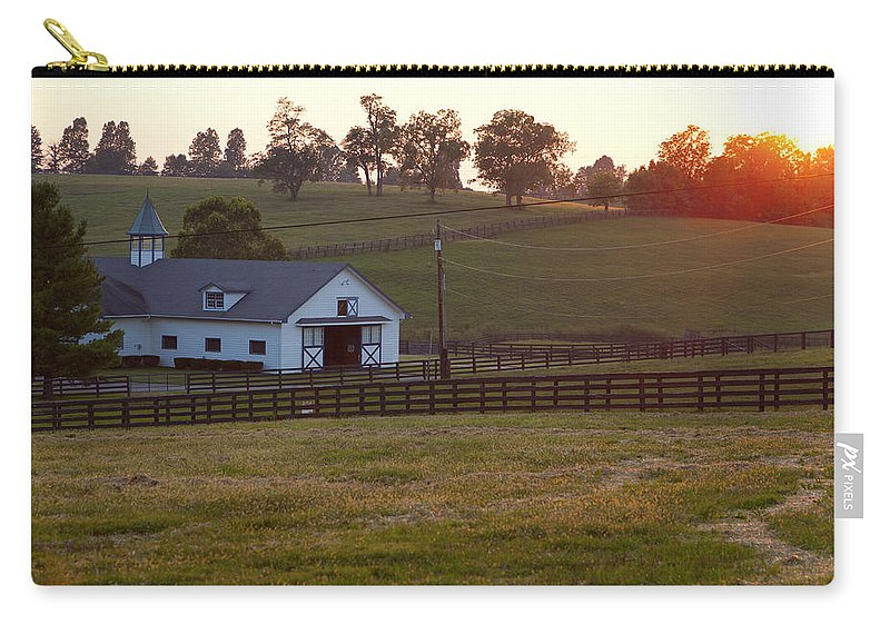 Farm Carry-all Pouch featuring the photograph Horse Farm Sunset by Alexey Stiop
