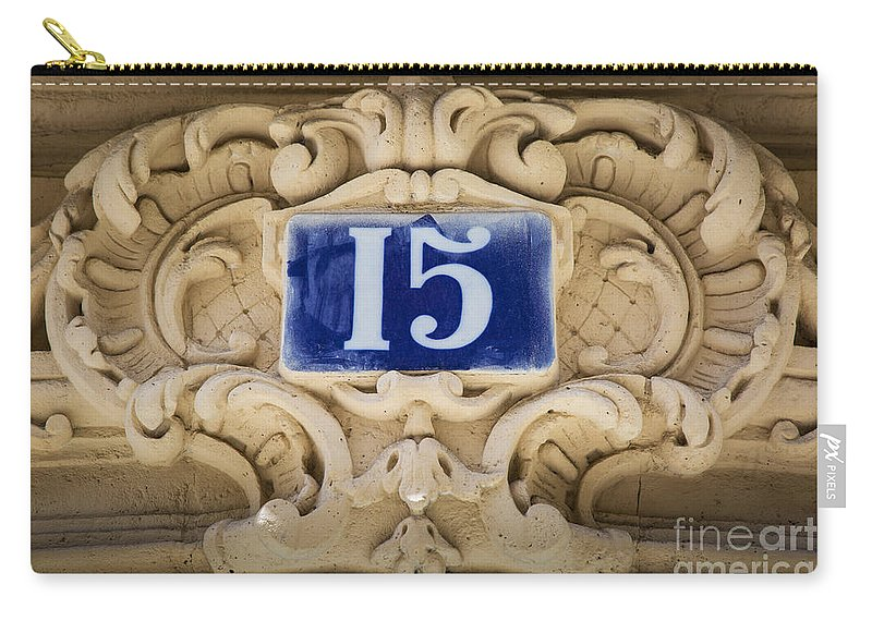 Address Carry-all Pouch featuring the photograph Building Number - Paris by Brian Jannsen