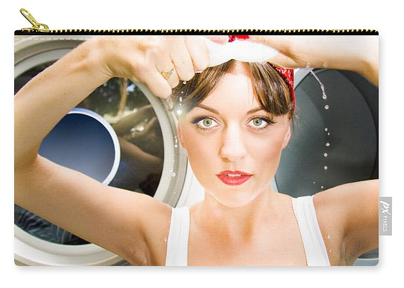 Cute Carry-all Pouch featuring the photograph House Work Woman by Jorgo Photography - Wall Art Gallery