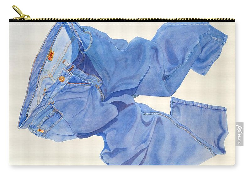 Blue Carry-all Pouch featuring the painting Watercolor  I Love My Jeans by Mary Ellen Mueller Legault