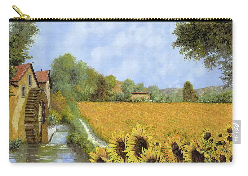 Watermill Carry-all Pouch featuring the painting Il Mulino E I Girasoli by Guido Borelli