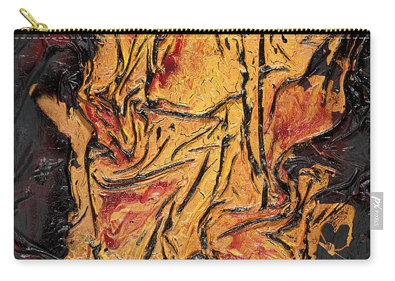 Abstract Carry-all Pouch featuring the mixed media Internal Fire by Angela Stout