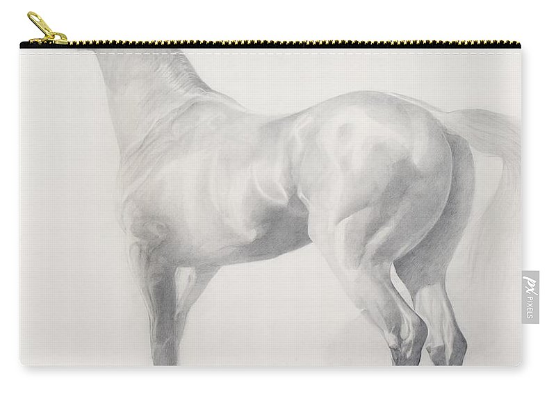 Animal Carry-all Pouch featuring the drawing Kicking Off by Emma Kennaway