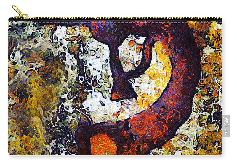 Kokopelli The Flute Player Carry-all Pouch featuring the digital art Kokopelli The Flute Player by Barbara Snyder