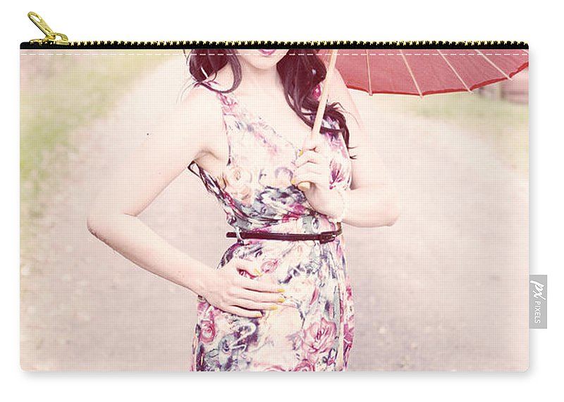 Bright Carry-all Pouch featuring the photograph Lady With Red Parasol by Jorgo Photography - Wall Art Gallery