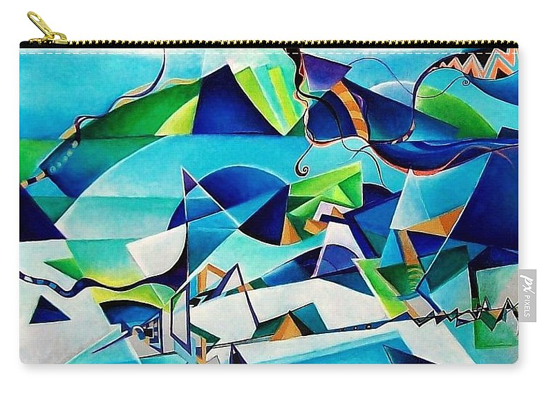 Landscpae Abstract Acrylic Wood Pens Carry-all Pouch featuring the painting Landscape by Wolfgang Schweizer