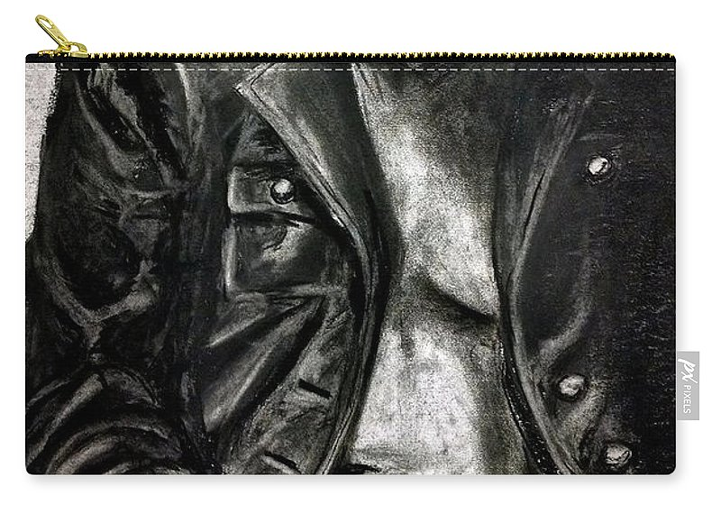 Leather Carry-all Pouch featuring the drawing Leather Jacket by Gabrielle Wilson-Sealy