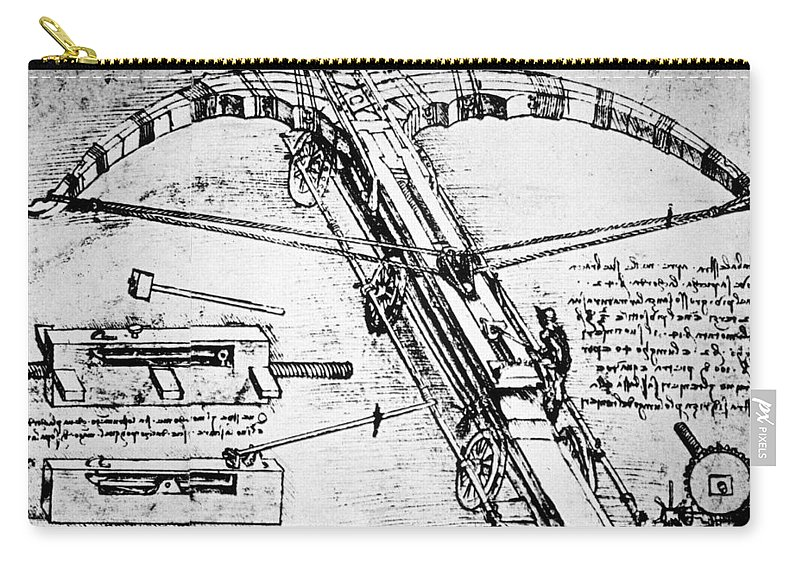 15th Century Carry-all Pouch featuring the photograph Leonardo: Invention by Granger