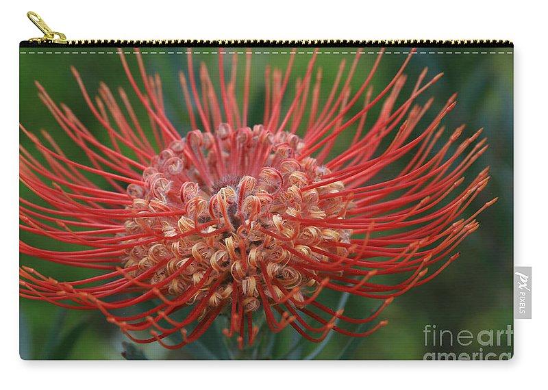 Aloha Carry-all Pouch featuring the photograph Leucospermum - Pincushion Protea - Tropical Sunburst Protea Flower Hawaii by Sharon Mau