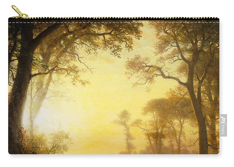 19th Century Carry-all Pouch featuring the painting Light In The Forest by Albert Bierstadt