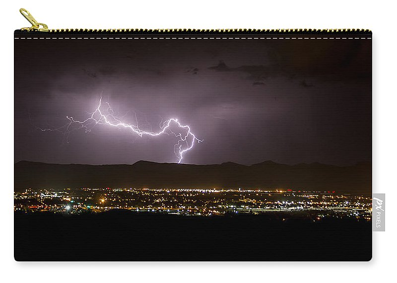 Bolts Carry-all Pouch featuring the photograph Lightning 9 by Jeff Stoddart