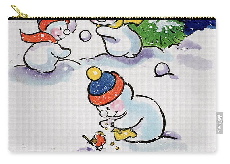 Landscape; Winter; Christmas; Fir Tree; Fight; Bobble Hat; Robin; Feeding; Playing Carry-all Pouch featuring the painting Little Snowmen Snowballing by Diane Matthes