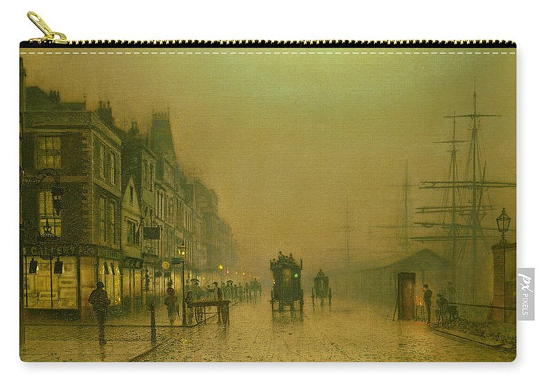 Street Carry-all Pouch featuring the painting Liverpool Docks by John Atkinson Grimshaw