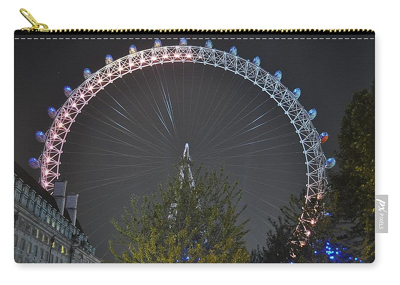 London Eye Carry-all Pouch featuring the photograph London Eye At Night by Simon Hackett