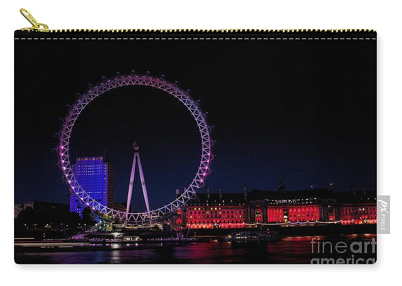 London Carry-all Pouch featuring the photograph London Eye In Red White And Blue by Jeremy Hayden