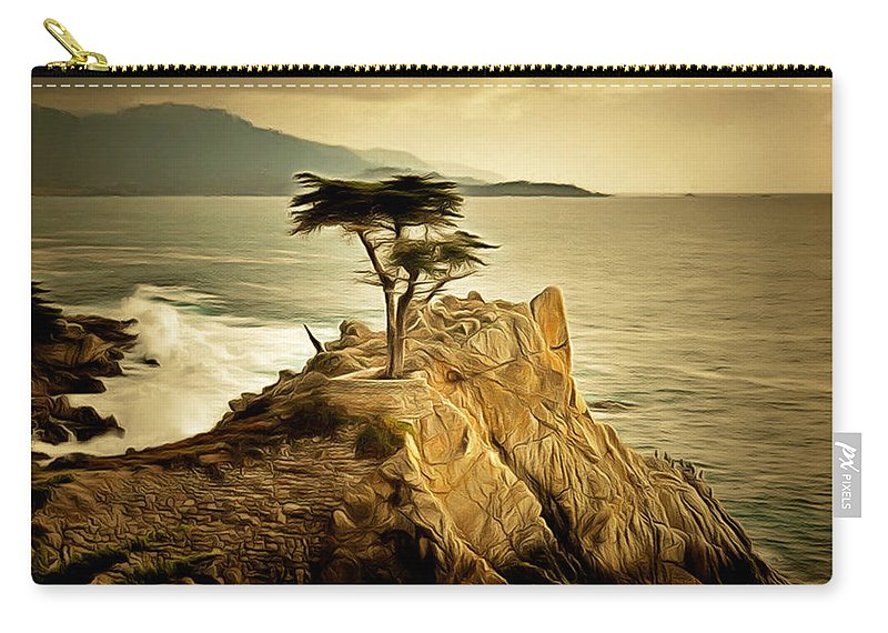 Barbara Snyder Carry-all Pouch featuring the painting Lone Cypress Detail 2 by Barbara Snyder