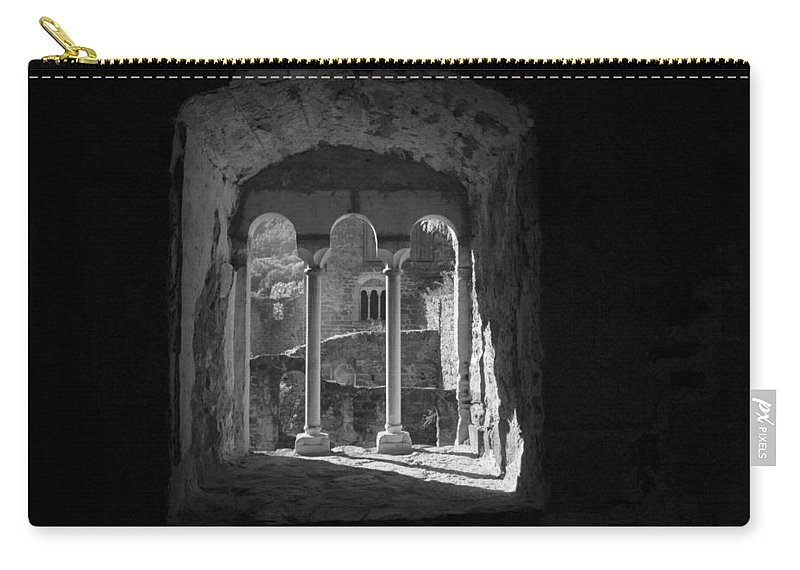 Black And White Carry-all Pouch featuring the photograph Looking Through A Window by Chevy Fleet