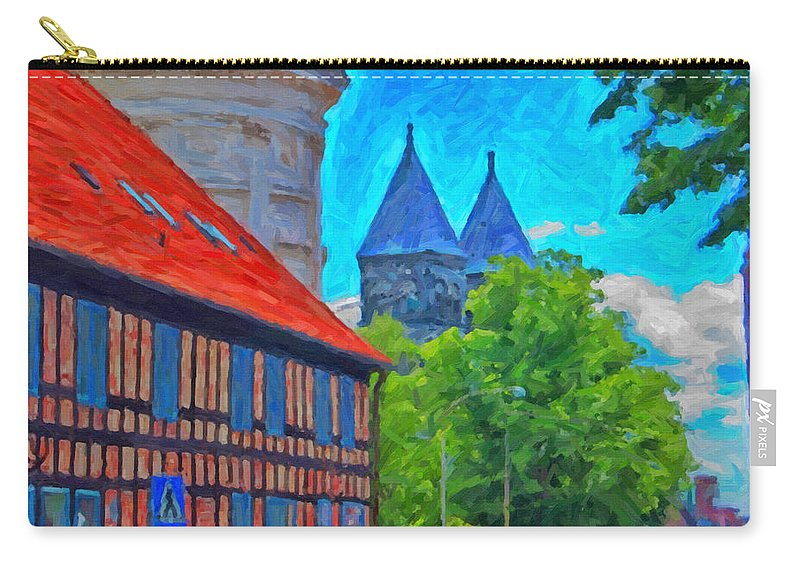 Lund Carry-all Pouch featuring the painting Lund Street Scene by Antony McAulay