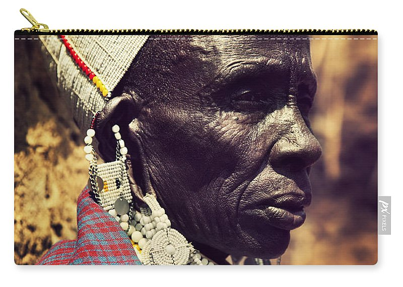 Africa Carry-all Pouch featuring the photograph Maasai Old Woman Portrait In Tanzania by Michal Bednarek