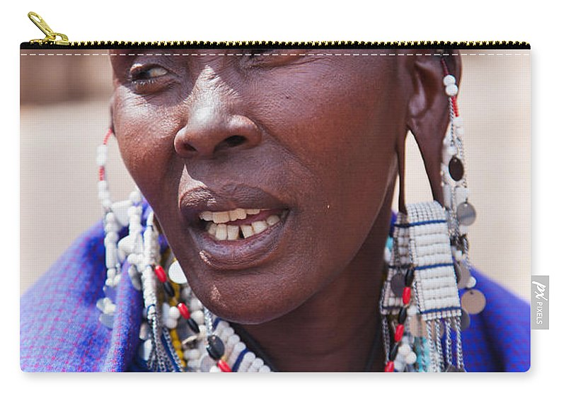 Africa Carry-all Pouch featuring the photograph Maasai Woman Portrait In Tanzania by Michal Bednarek