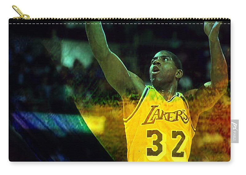 Magic Johnson Paintings Carry-all Pouch featuring the mixed media Magic Johnson by Marvin Blaine