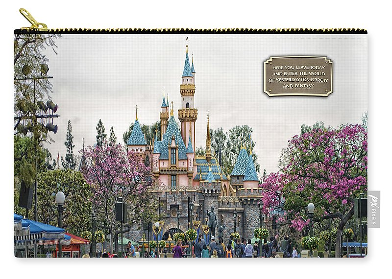 Disney Carry-all Pouch featuring the photograph Main Street Sleeping Beauty Castle Disneyland 01 by Thomas Woolworth