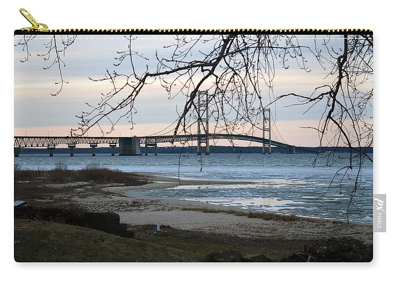 Mackinaw Bridge Carry-all Pouch featuring the photograph Majestic by Linda Kerkau