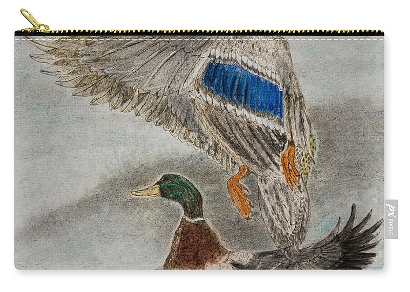Drawing Carry-all Pouch featuring the drawing Mallard Pair by Chris Steele