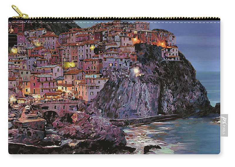 Manarola Carry-all Pouch featuring the painting Manarola al crepuscolo by Guido Borelli