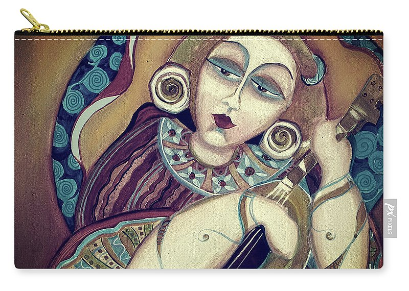 Mandolin Carry-all Pouch featuring the painting Mandolin Fiesta by Shane Guinn