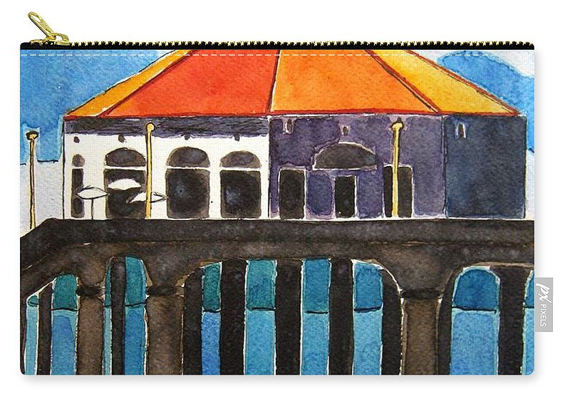 Manhattan Beach Carry-all Pouch featuring the painting Manhattan Beach California by Lesley Giles
