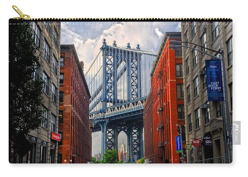 Manhattan Bridge Carry-all Pouch featuring the photograph Manhattan Bridge View by Dave Mills