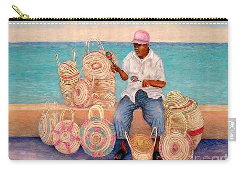Martin In Cozomel Mexico Carry-all Pouch featuring the pastel Martin by Barney Napolske
