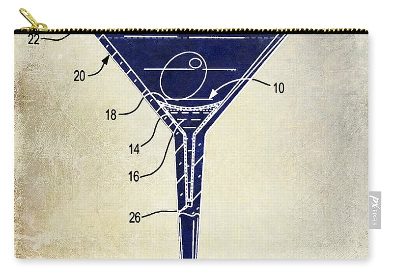 Cocktail Shaker Patent Carry-all Pouch featuring the photograph Martini Glass Patent Drawing Two Tone by Jon Neidert