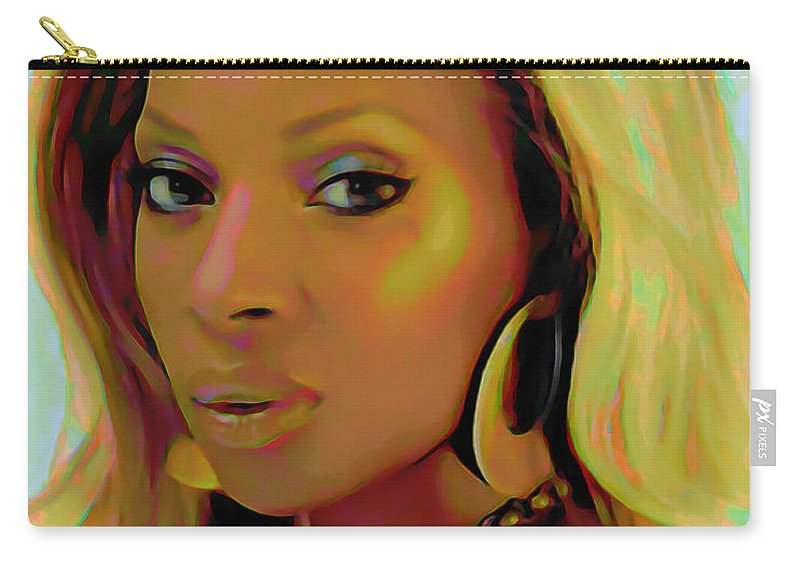 Mary J Blige Carry-all Pouch featuring the painting Mary J Blige by Fli Art
