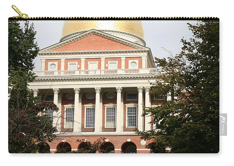 Boston Carry-all Pouch featuring the photograph Massachusetts State House - Boston by Christiane Schulze Art And Photography