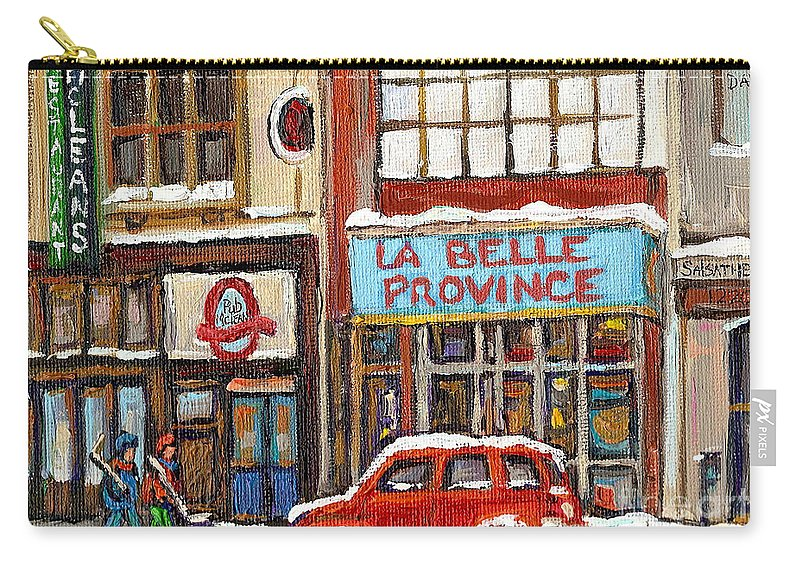 Montreal Carry-all Pouch featuring the painting Mcleans Irish Pub Montreal by Carole Spandau