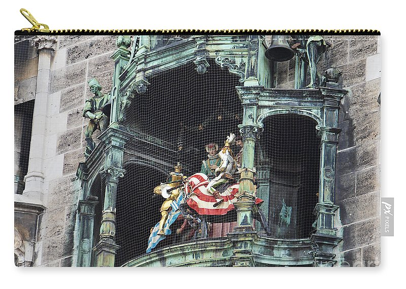 Glockenspiel Carry-all Pouch featuring the photograph Mechanical Clock In Munich Germany by Howard Stapleton