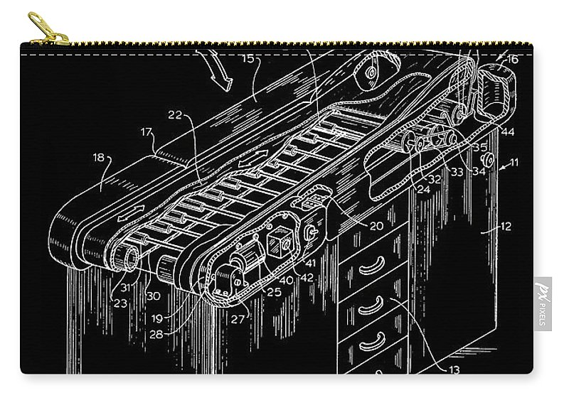 Patent Carry-all Pouch featuring the drawing Medical Examining Table Patent 1974 by Mountain Dreams