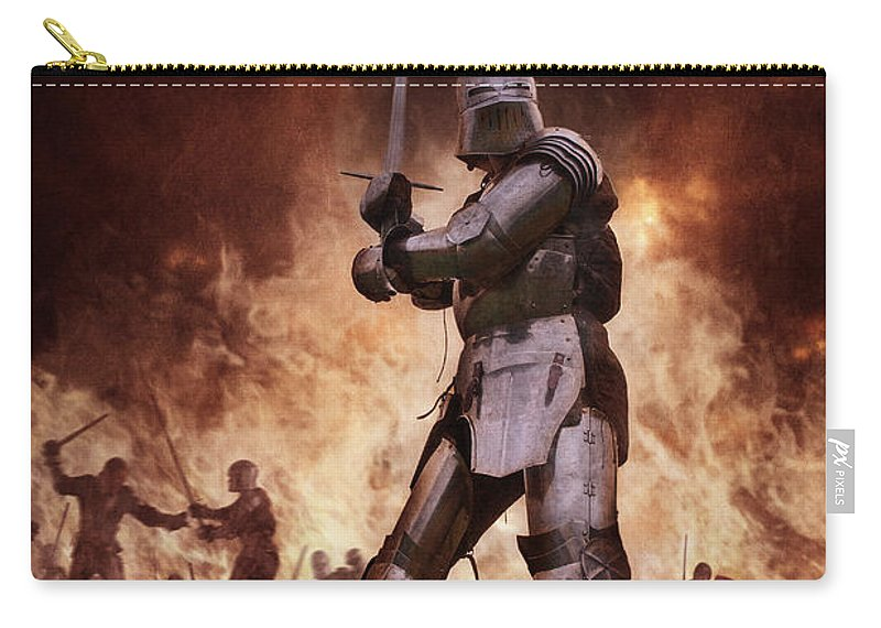Knight Carry-all Pouch featuring the photograph Medieval Knights In Battle by Lee Avison