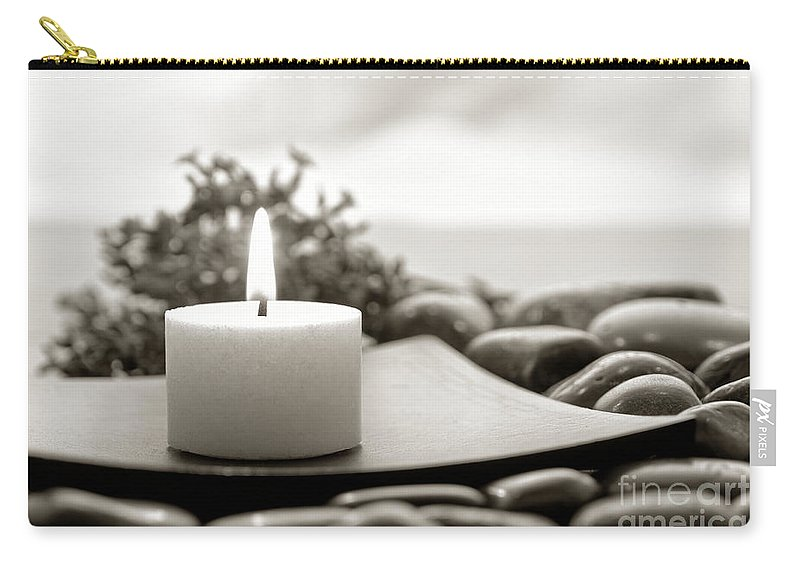 Candle Carry-all Pouch featuring the photograph Meditation Candle by Olivier Le Queinec