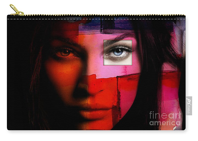 Megan Denise Fox Paintings Mixed Media Mixed Media Carry-all Pouch featuring the mixed media Megan Fox by Marvin Blaine