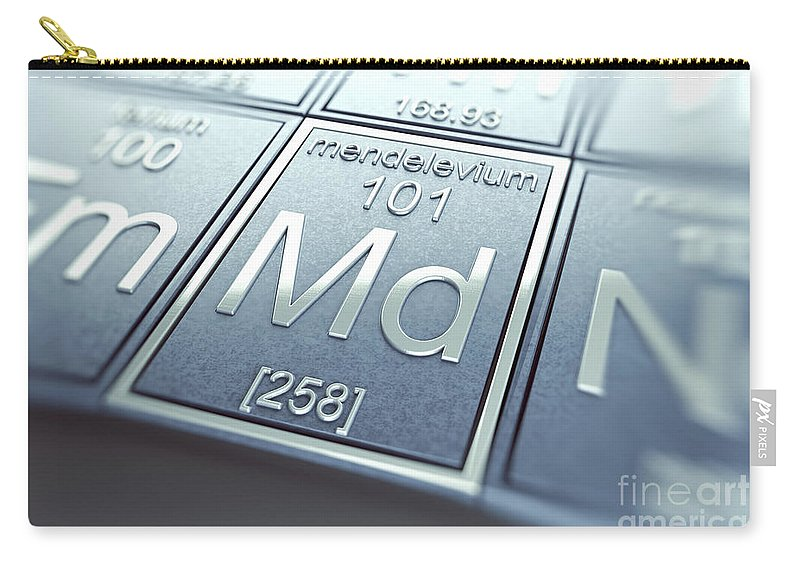 Atomic Number Carry-all Pouch featuring the photograph Mendelevium Chemical Element by Science Picture Co