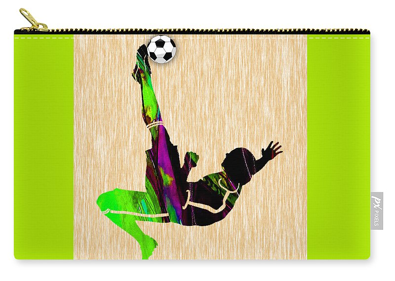 Soccer Carry-all Pouch featuring the mixed media Womans Soccer by Marvin Blaine