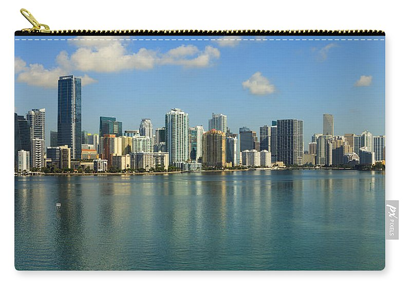 Architecture Carry-all Pouch featuring the photograph Miami Brickell Skyline by Raul Rodriguez