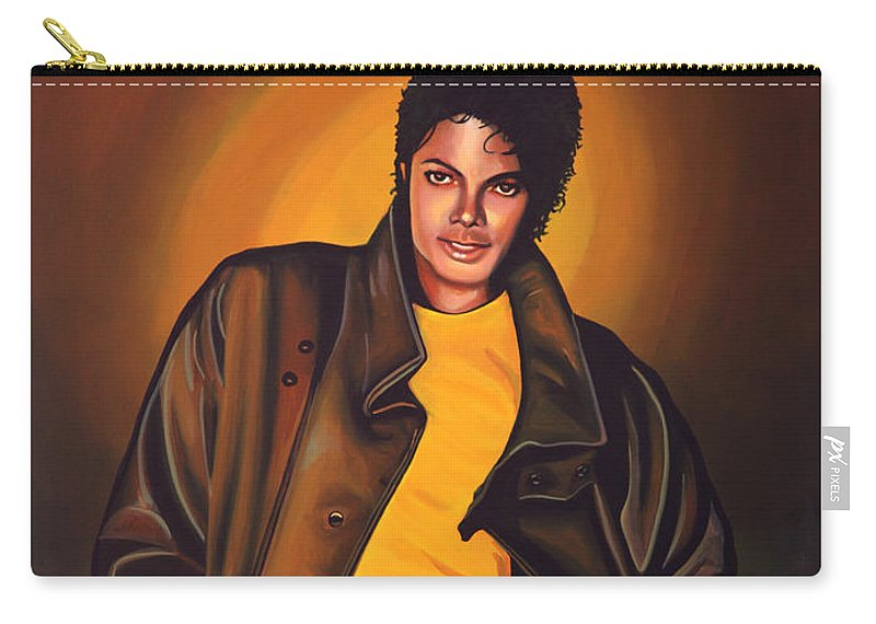 Michael Jackson Carry-all Pouch featuring the painting Michael Jackson by Paul Meijering