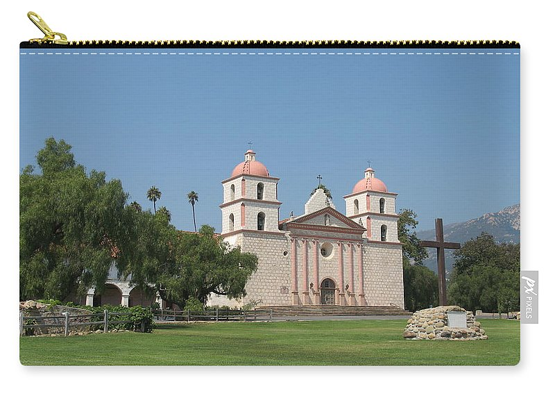 Mission Carry-all Pouch featuring the photograph Mission Santa Barbara by Christiane Schulze Art And Photography