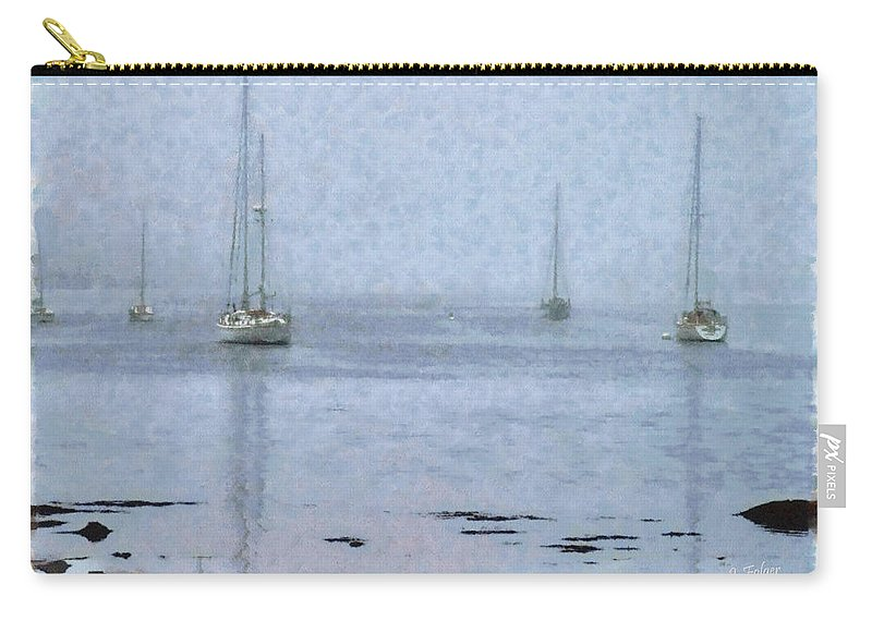 New England Coastline Carry-all Pouch featuring the photograph Misty Sails Upon The Water by Jeff Folger